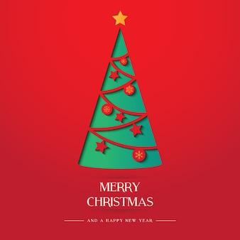 노란 별을 가진 크리스마스 트리 종이 아트