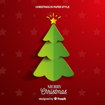 Christmas tree in paper style background