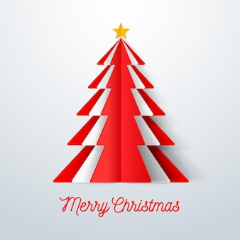 Christmas tree in paper style illustration