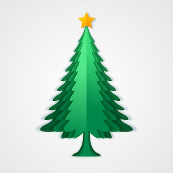 Christmas tree in paper style with star