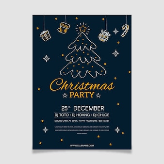 Christmas tree party poster in outline style