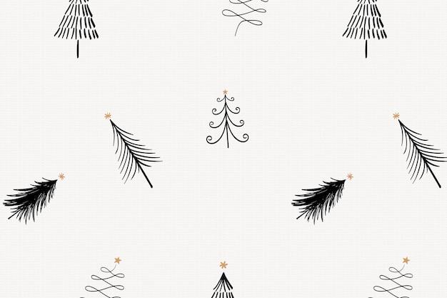 Рождественская елка узор фона, милый праздничный каракули в черном векторе