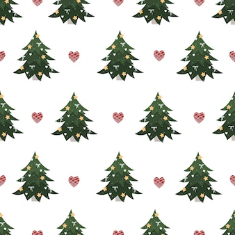 Christmas tree pattern on a white background with hearts trendy new year ornament for gift wrapping