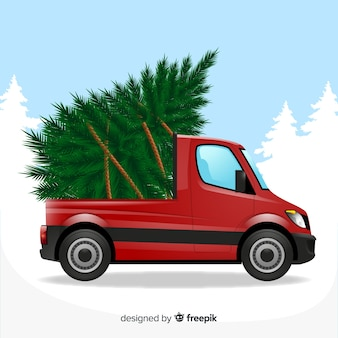 Christmas tree on pick-up truck
