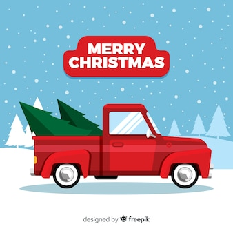 Christmas tree on a pickup truck