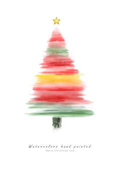Christmas tree red cute watercolor hand painted for creating greeting cards.