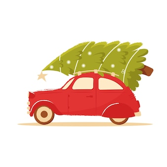 Christmas tree on roof of a red retro car. cute postcard with new year and christmas
