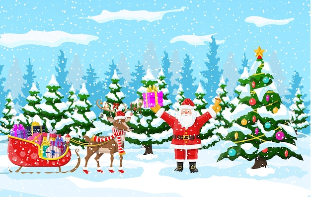 Christmas tree, santa claus with reindeer and sleigh. winter landscape with fir trees forest and snowing. happy new year celebration. new year xmas holiday.