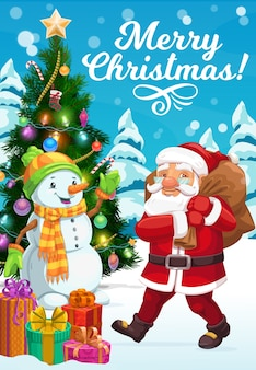 Christmas tree, santa and snowman