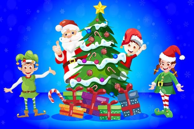 Рождественская елка сцена мультяшная поздравительная открытка с санта-клаусом и эльфами