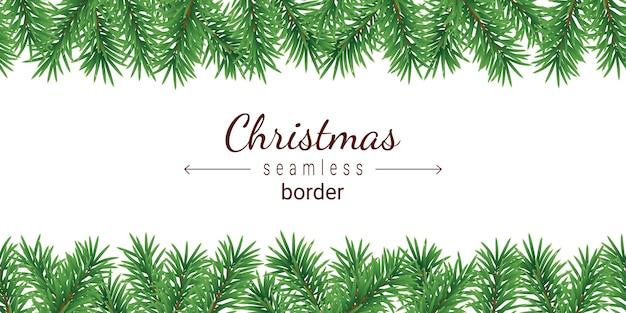 Christmas tree seamless border isolated on white background.