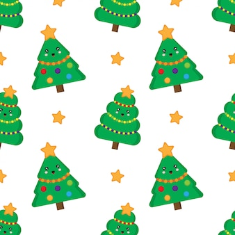 Christmas tree seamless pattern. cute kawaii fur trees.
