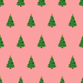 クリスマスツリーのシームレスなパターン。クリスマスをテーマにした無限の背景。ベクター。