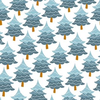 Christmas tree seamless pattern.  fir-tree forest.