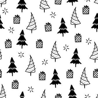 Christmas tree seamless pattern. hand drawn doodle style winter christmas pattern. vector illustration.
