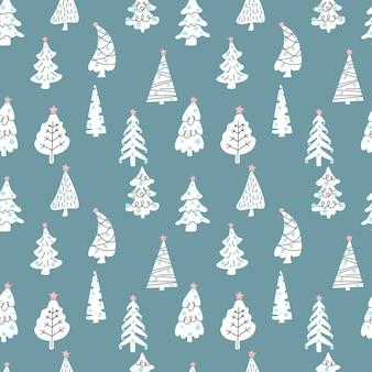 크리스마스 트리 완벽 한 패턴 녹색 배경에 고립입니다. 벡터 평면 그림입니다. 섬유, 포장, 벽지, 장식용 디자인