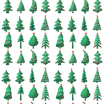 크리스마스 트리 완벽 한 패턴 흰색 배경에 고립입니다. 벡터 평면 그림입니다. 섬유, 포장, 벽지, 장식용 디자인