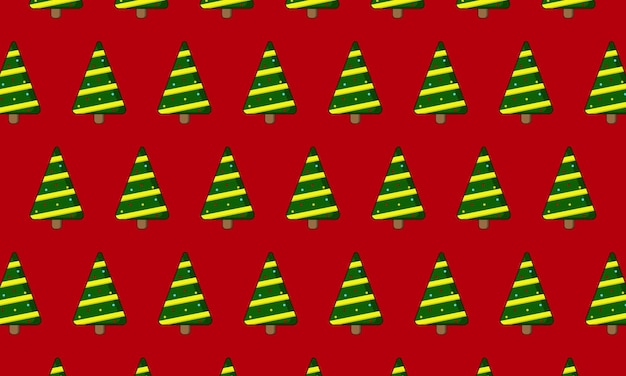 Christmas tree in seamless pattern on red background. design for your print, fashion.
