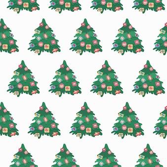 크리스마스 트리 원활한 패턴 전나무 나무와 크리스마스 축제 배경
