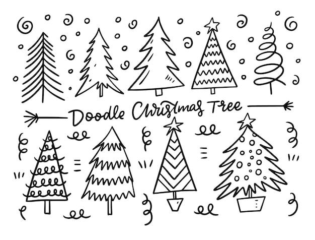 Набор рождественской елки. чернила. изолированные на белом фоне.
