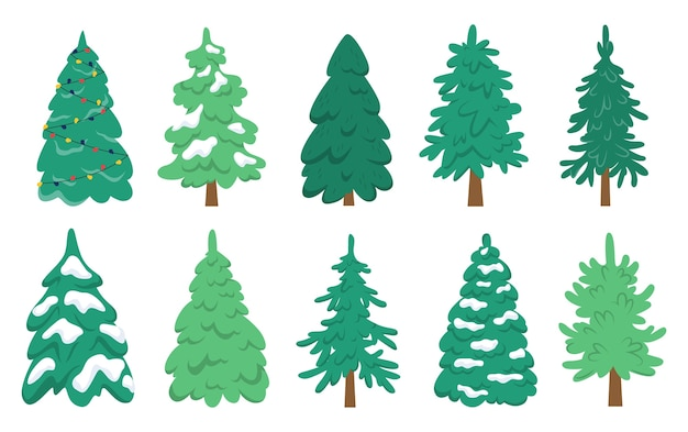Christmas tree set. collection of green fir for christmas and new year celebration.    illustration