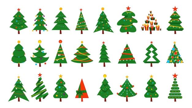 크리스마스 트리를 설정합니다. 크리스마스와 새 해 축 하를위한 녹색 전나무의 컬렉션입니다. 삽화