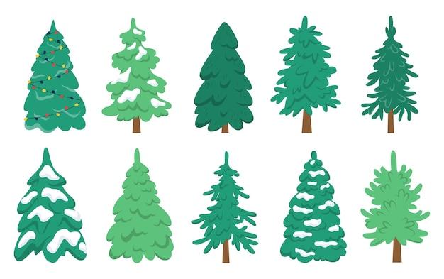 クリスマスツリーセット。クリスマスと新年のお祝いの緑のモミのコレクション。図