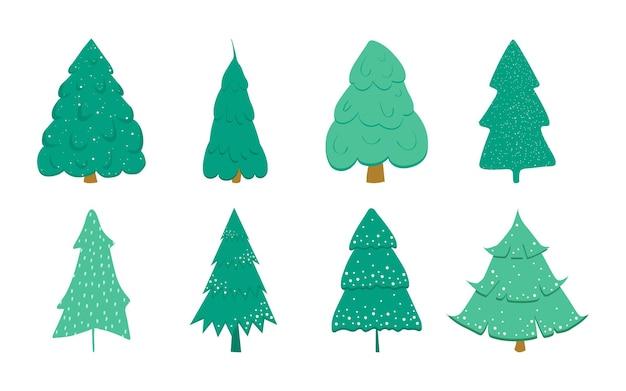 흰색 배경에 분리된 눈으로 장식된 크리스마스 트리 세트입니다. 엽서, 배너, 포스터를 위한 만화 스타일의 크리스마스 트리. 벡터 일러스트 레이 션
