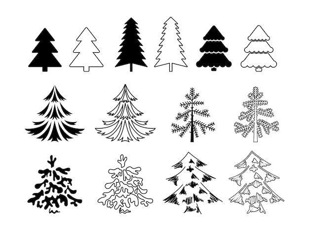 クリスマスツリーセット。シルエットと輪郭の形で、さまざまなスタイル。