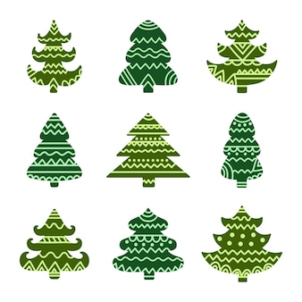 Christmas tree set holiday tribal design elements