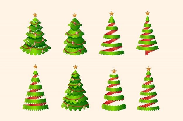 Christmas tree set in three dimensional ribbon stylized