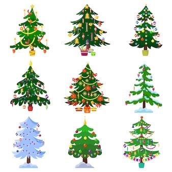 Christmas tree set vector.