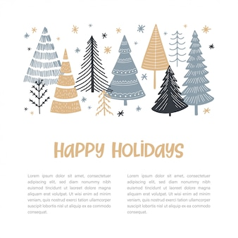Рождественская елка набор веб-баннер