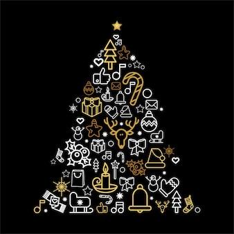休日の線形アイコンとクリスマスツリーのシルエット。お祝いの装飾が施されたグリーティングカードモミの木