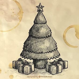 クリスマスツリーのスケッチの背景と贈り物