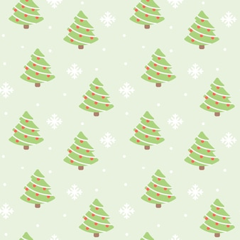 Christmas tree and snow seamless pattern background
