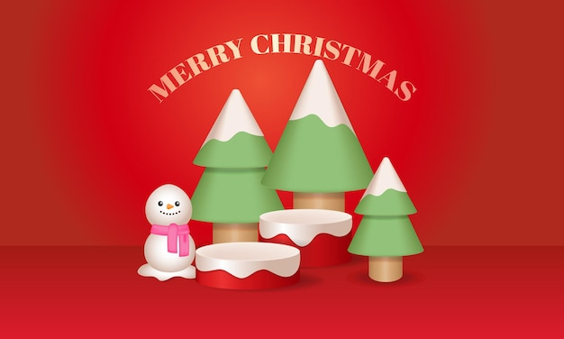 Christmas tree and snowman decoration podium stage for product display