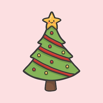 Christmas tree and star hand drawn cartoon style vector