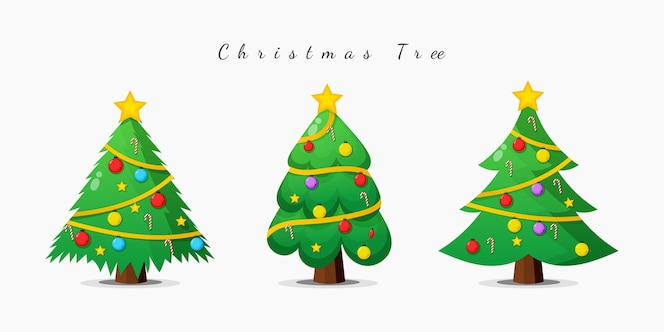 Christmas tree style cartoon design set