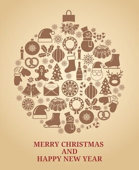 Christmas tree symbol in vintage style with christmas icons vector illustration