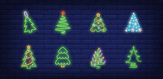 Christmas tree symbols set in neon style