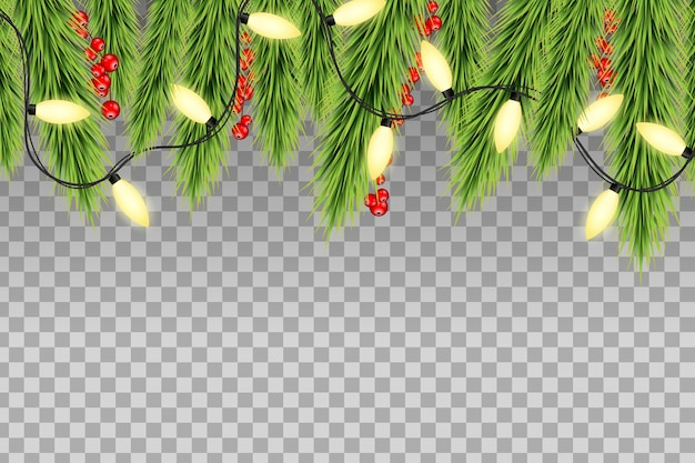 Christmas tree top border decoration with red holly berries and fairy lights. neon lights on transparent background.