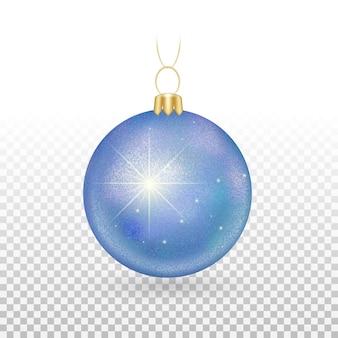 Елочная игрушка - шары синие с искрящимися блестками.