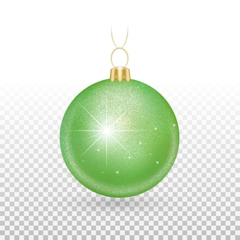 Елочная игрушка - шары зеленого цвета с искрящимися блестками.