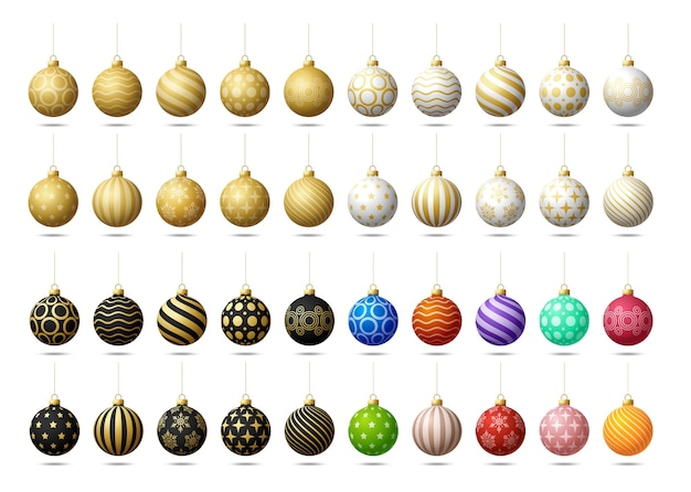 Christmas tree toy or balls mega collection set  on a white background. stocking christmas decorations.  object for xmas , mockup.  realistic object illustration