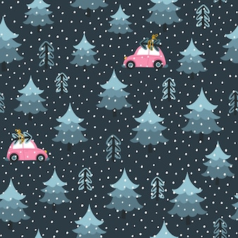 Christmas tree and toy car at night. seamless pattern. a childish hand-drawn scandinavian style. fir-tree forest.