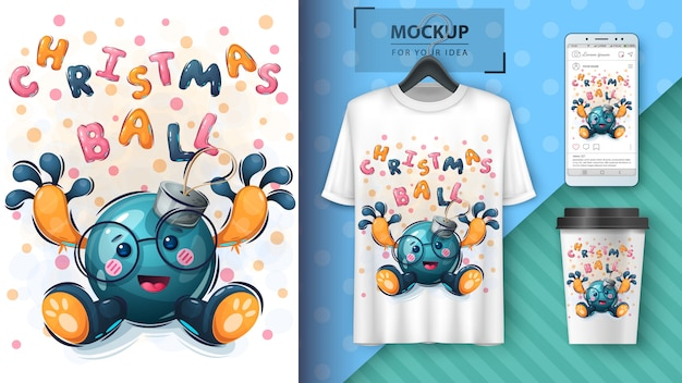 Christmas tree toy illustration and merchandising