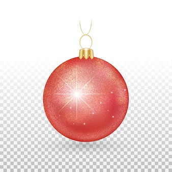 Елочная игрушка - красные шары с искрящимися блестками.