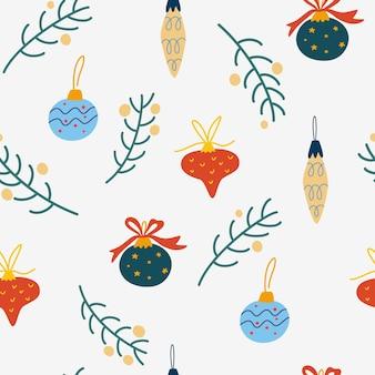 크리스마스 트리 장난감, 공 및 잔가지 완벽 한 패턴입니다. 겨울 배경, 직물, 섬유, 옷, 종이, 스크랩북, 플래너를 위한 어린이 벽지. 새 해 전통적인 상징입니다. 벡터 일러스트 레이 션.