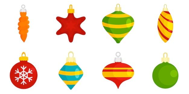 Christmas tree toys icon set